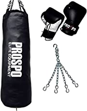 Prospo strong and rough punching bag (36inch) with boxing glove and chain (heavy bag)