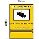 tualarmasincuotas.es ▶ Cartel Zona Videovigilada A5 Interior/Exterior, Cartel Disuasorio PVC expandido, Placa Disuasoria 21x15 cm, Amarillo ◀