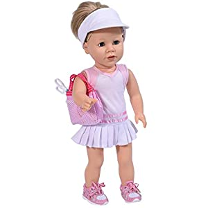 The New York Doll Collection- Set de Tenis 45 cm-Incluye Raquetas, Vestido y Gorro para muñecas-Blanco (6825065)