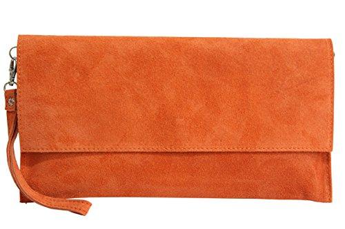 AMBRA Moda Damen Wildleder Clutch Handtasche veloursleder Tasche Handschlaufe WL811 (Orange) (Handtasche Clutch)