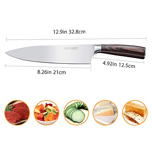 Chef Knife, GEEKHOM 8-Inch/21cm Professional Kitchen Knife made with German High Carbon Stainless Steel with Ergonomic Wooden Handle in Gift Box for Vegetables Fruits Fish Meat and other foods