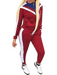 Femme Rayure Ensembles Sportswear Manches Longues Zipper Top + Pantalon Joggers 2 Pièce Survêtements de Sport