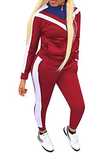 ORANDESIGNE Damen Mode Streifen Trainingsanzug Mädchen Lange Ärmel Zipper Top + Lange Hose Sportswear 2 Stück Bekleidungsset Sport Rot DE 38