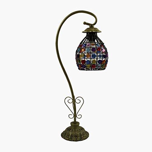 Lampe de table lampe de bureau Pastorale lampes décoratives rétro feu de fer lampes de verre coloré lampe minimaliste commode lampe de table de chevet de chambre à coucher (11.5 * 13 * 54cm), E27