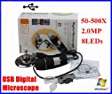 8-LED 2MP USB Digital Microscope Endoscope Camera 50X~500X + Stand camera for laboratory pc students video