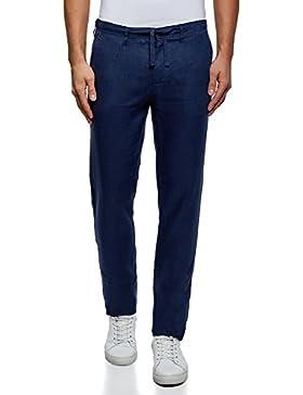 oodji Ultra Hombre Pantalones de Lino con Cordones