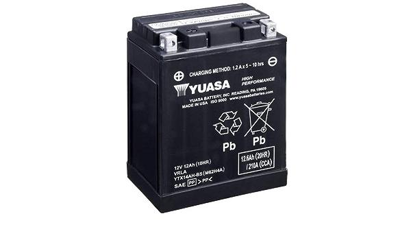 Batterie Yuasa Ytx14ah Bs Cp Agm Geschlossen 12v 12ah Cca 210a 134x89x166mm Auto