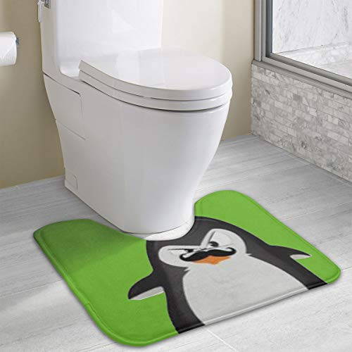 Dimension Art Cute Black White Penguin Contour Bath Rugs Non Slip Soft and Absorbent Memory Foam U-Shaped Bathroom Bath Mats Rug Carpet