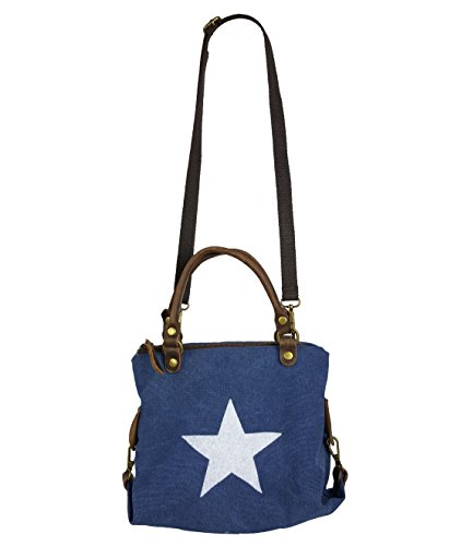 Canvas Echtleder Damentasche Shopper Henkeltasche 3 Größen * Stern * (Blau - S)