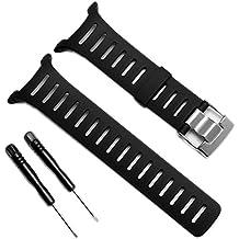 Carcasa resistente al agua de goma suave reloj de pulsera banda correa de elastómero negro con hebilla de metal para Suunto T-Series reloj inteligente