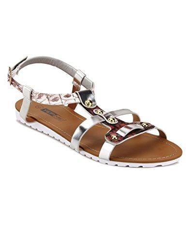 Yepme Brown & Silver Sandals -- YPWFOOT9413_7
