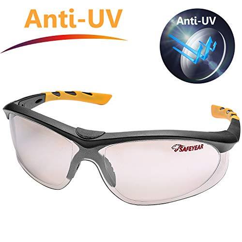 SAFEYEAR Gafas de Seguridad Protección UV -SG004 Gafas Protectoras trabajo con laboral laboratorio graduadas conluz nerf ordenador para cortar cebolla deporte diodo Hombre Amarillas para Airsoft