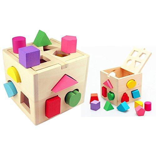 Itian 13 Löcher Würfel aus Holz Baustein, Form Farberkennung Intelligenz Sorter, für Kleinkind / Kinder