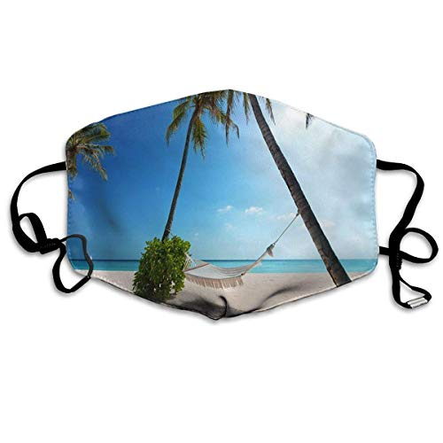 Masken, Masken für Erwachsene, Tropical Paradise Sunshine Beach Coast Sea Palm Trees Anti Dust Face Mouth Cover Mask Respirator - Dustproof Anti-Bacterial Washable - Masks Respirator Windproof ()