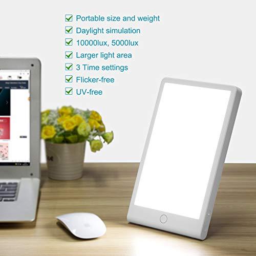 COMLIFE Lampe de Luminothérapie, LED Lampe de Bien-être,Lampe à Lumière du Jour Réglable, Luminosité de 10000 LUX, Avec Support et Minuterie(Une Touche,Sans UV)