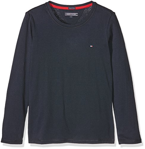 tommy-hilfiger-girls-basic-cn-knit-l-s-t-shirt-fille-bleu-blau-navy-blazer-431-12-ans