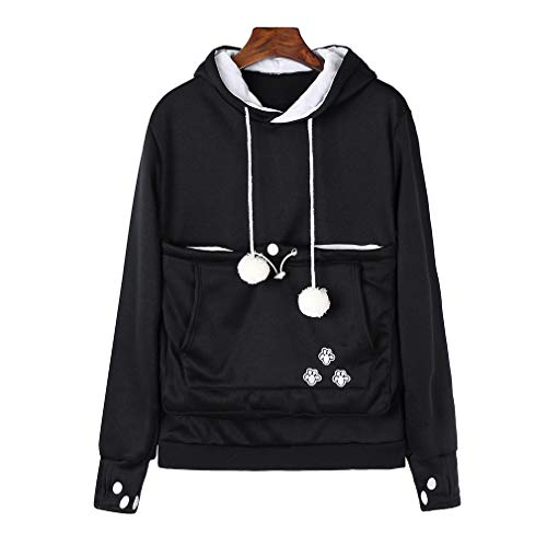 Frauen Sweatshirt - Highdas Pullover Kapuzenpulli Langarm Sweatshirt mit Känguru / Katze / Hund Tasche
