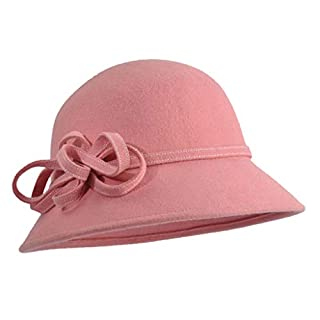 Amazplus Fedora Damen Herbst und Winter Mode Weich Wolle Warm bleiben Mützen Mit Bogen und Blume Einstellbar Größe Kuppel Mützen 57cm Pink