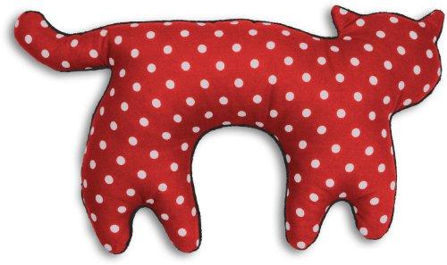 Leschi | Cuscino da viaggio (per i viaggi in macchina, aereo, autobus e treno) | 36797 | La gatta Feline | Colore: Rosso a pois / Mezzanotte