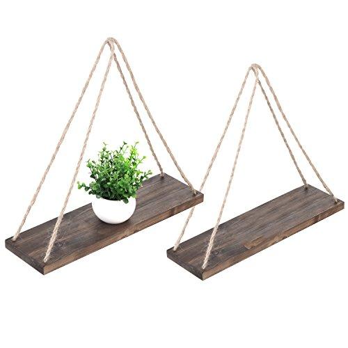 Juego de 2 estantes flotantes de 43 cm en madera envejecida de...
