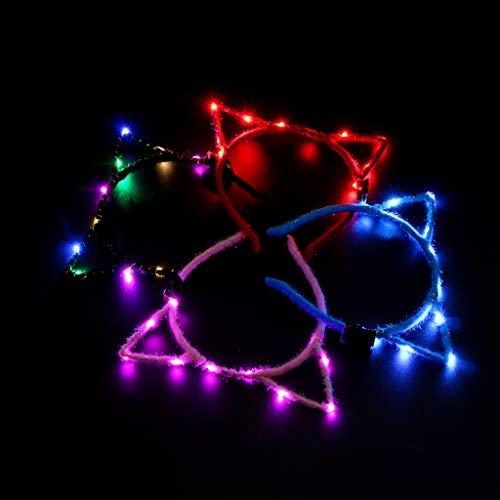 Lamdoo 1 Stück Frauen Mädchen Blinkende Nette Spitzen Katzenohren Haarband Glowing String Lichter Plüsch Tuch Gewickelt Stirnband Partei Liefert Zufällige Farbe