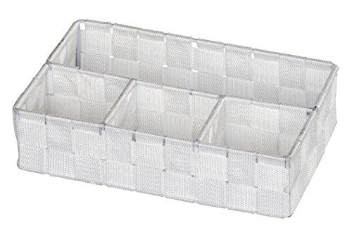 WENKO 20985100 Organizer Adria Klein Weiß - 4 Fächer, 100 % Polypropylen, 26 x 6.5 x 17 cm, Weiß