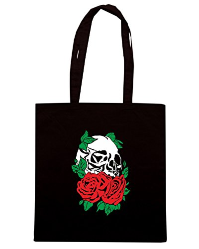 T-Shirtshock - Borsa Shopping T0780 teschio e rose militari Nero