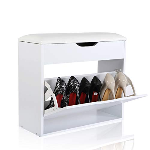 Easease scarpiera in legno panche contenitore scarpe armadio scarpiera da ingresso mobile scarpiera in legno mobile contenitore con cassetti ribaltabili per l'ingresso e il corridoio 23.5 * 60 * 55