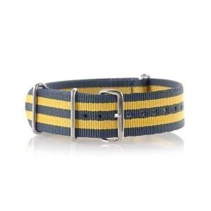 VK von Buran01.com Militär Nylon Uhrenarmband blue/yellow 18mm WATCH STRAP