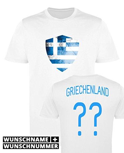 Comedy Shirts - Griechenland Trikot - Wappen: Groß - Wunsch - Mädchen Trikot - Weiss/Blau Gr. 98-104