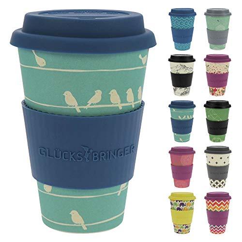 ebos Glücksbringer Coffee-to-Go-Becher aus Bambus | Kaffe-Becher, Trink-Becher | wiederverwendbar, natürliche Materialien, umweltfreundlich, lebensmittelecht, spülmaschinengeeignet (Loving Birds Sky)
