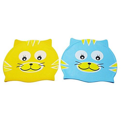 Festnight Kinder Badekappe Silikon Ultra Stretch Schwimmkappe Wasserdicht Bequeme Fische/Katze Form für Mädchen und Jungen von 3-12 Jahren