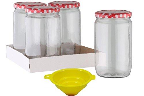 Viva Haushaltswaren - 4 x großes Einmachglas / Marmeladenglas 720 ml mit Deckel, Twist-off Gläser Set rund - als Einweckgläser, Gurkenglas Vorratsdosen etc. verwendbar (inkl. Trichter)