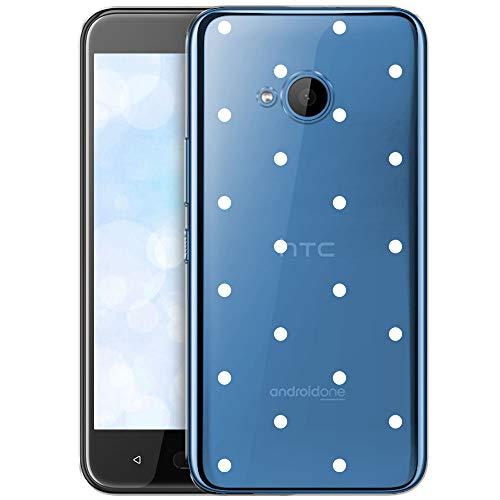 OOH!COLOR Schutzhülle Kompatibel mit HTC U11 Life Hülle Silikon Case Handy Tasche transparent Bumper mit Coolen Aufdruck Motiv weiße Punkte (EINWEG)