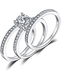 JewelryPalace 1,4ct Zirconia cúbicos de plata de ley 925 Aniversario de compromiso nupcial conjunto de anillos