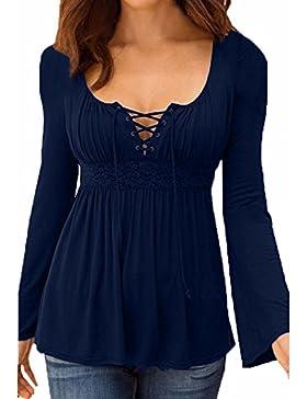 StyleDome Donna Maglietta Manica Lunga Casual Autunno Maglia Moda Elegante Collo V Maglieria Shirt Top