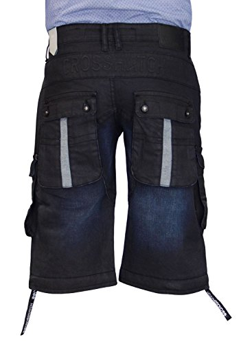 Neue Mens Designer Crosshatch Stretch Combat Pocket Denim Bermuda Shorts Jeans Blue Black