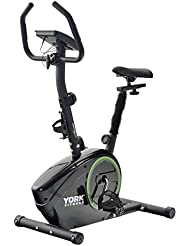 York Exercise Bike - Fitness Bike Home Trainer - Sporting Equipment - Ideal Cardio Trainer - Built-in Workout Programmes Displays Calories Burned, Pulse, Speed, Time - Black/Green