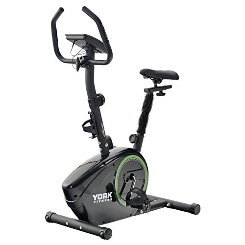 41Z9 Eb9u5L. SS500  - York Fitness Exercise Bike - Fitness Bike Spin Bike Home Trainer and Ideal Cardio Trainer - Sporting Gym Bike Equipment Cycle Trainer - Built-In Workout Programmes - Black/Green