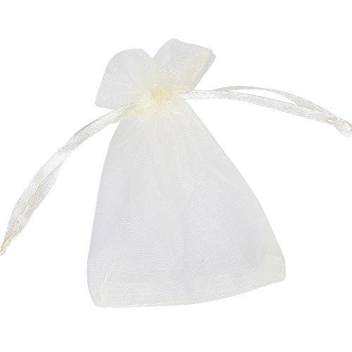 Deomor 100pz sacchetti organza avorio sacchettini per confetti matrimonio comunione battesimo 7*9cm