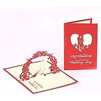 Suministros de Arte y artesanía- Tarjetas de felicitación Hechas a Mano en 3D para los Amantes de San Valentín Regalos de Valentines Day en Pareja (Color : Wedding)