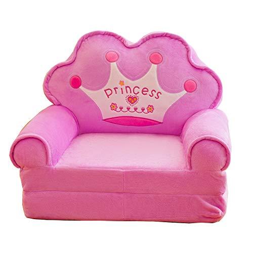 HOMDREAM Plüsch Kindersofa Sitzen Stuhl Prinzessin Crown Sessel Niedlichen Cartoon Waschbar Kinder Falten Sofa Stühle Sitzbezug Gepolsterte Wohnzimmermöbel,Purple