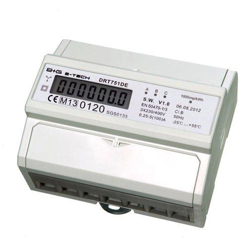 B+G E-Tech DRT751DE - LCD digitaler Drehstromzähler Stromzähler MID GEEICHT / BEGLAUBIGT 5(100)A mit S0 Interface für DIN Hutschiene