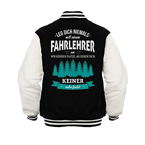 Fashionalarm Herren College Jacke - Leg dich niemals mit einem Fahrlehrer an | Varsity Baseball Jacket | Sweatjacke als Geschenk Idee Beruf, Farbe:schwarz / weiß;Größe:3XL