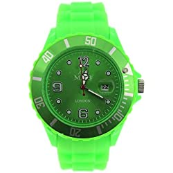 Mabz london Unisex Lime Green Dial rubber Bracelet Ice style Watch