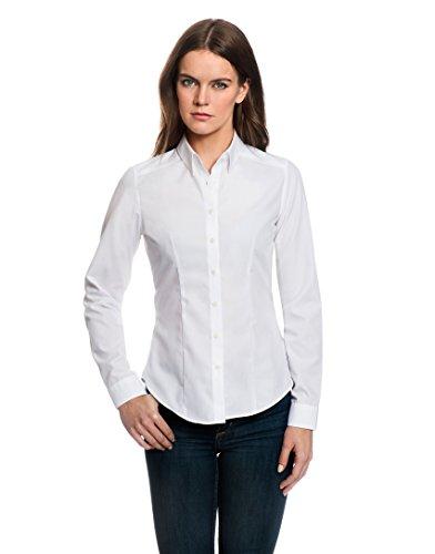 EMBRÆR Damen Bluse Tailliert 100% Baumwolle Bügelfrei Langarm Hemdbluse Elegant Festlich Kent-Kragen Auch für Business und Unter Pullover Weiß 42 (Rüschen-kragen-bluse Aus Seide)