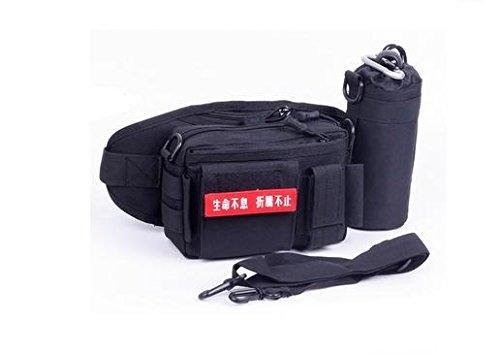 Zll/Tactical Wasser Flasche Pocket Herren Multifunktions-Sport Reiten Running Pocket Camouflage Wasser Flasche Tasche Schwarz
