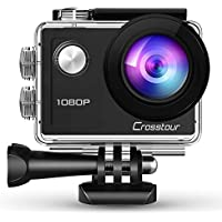 Crosstour Action Camera 1080P Full HD 14MP Anti-Shake Time-Lapse Recording 98ft Waterproof 170° Wide-Angle Sports Camera with Mounting Accessory Kits