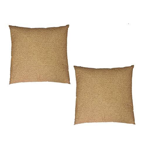 Borbonese set due cuscini arredo modello oplà cm. 45x45 100% percalle di cotone, cammello