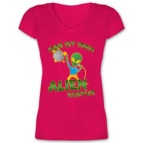 Kostüm Disco Kinder Tanzen - Karneval & Fasching - Das ist Mein Alien Kostüm Disco - L - Fuchsia - XO1525 - Damen T-Shirt mit V-Ausschnitt